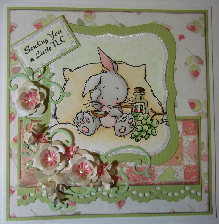 Get well bunny again, a more recent make with papers by Nitwits and Marianne Design die cuts