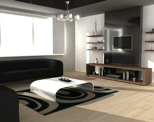 intérieur-de-la-maison-contemporaine-canapé-noir-table-blanc-meuble-tv