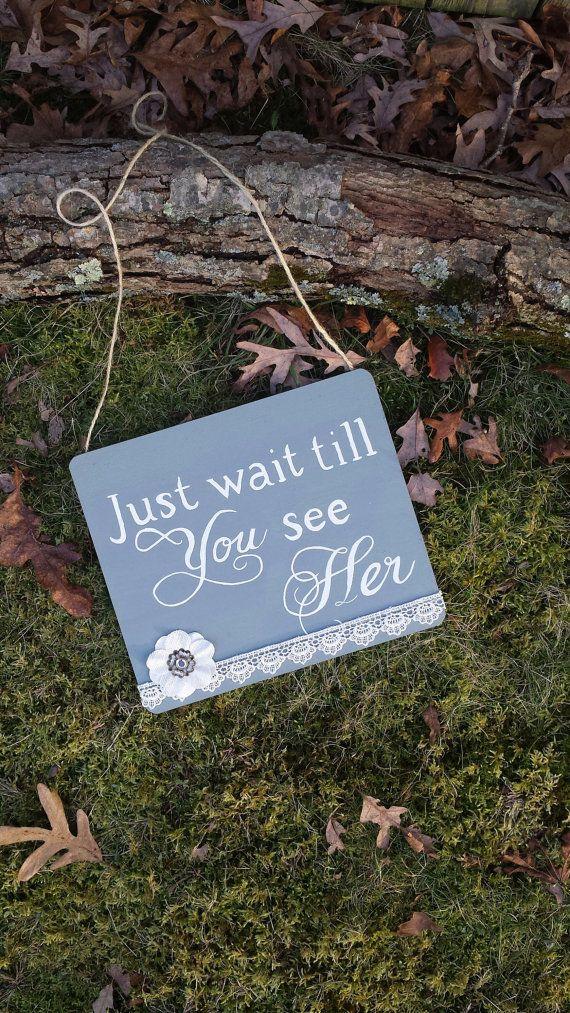 Just wait till you see her ring bearer sign flower girl wedding sign ceremony sign on Etsy, $34.00