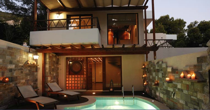 Poseidon Resort @ Loutraki..     Couples searching for a romantic escapade may choose between the Honeymoon Suite with the glass roof-top over the bed, the Panorama Suite with the breathtaking view or the Romantic Suite with the antique-furniture. For the upper- most in luxury, the Penthouse Suite is the perfect retreat: a two-floor suite with an outdoor pool and an indoor Jacuzzi.    Find more info @ http://www.visitloutraki.com/destination/accommodation/hotels/1169