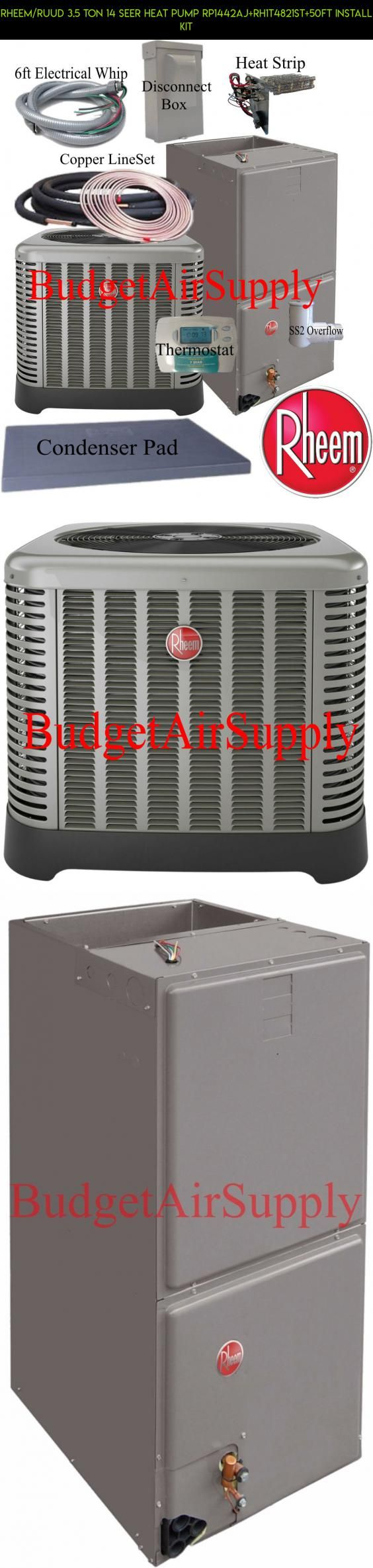 Average cost of new furnace and ac for home - Rheem Ruud 3 5 Ton 14 Seer Heat Pump Rp1442aj Rh1t4821st 50ft Install Kit