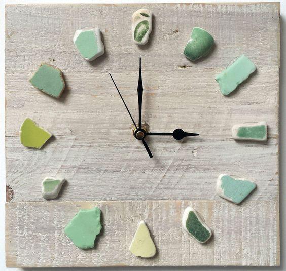 Sea glass and beach pottery wall clock #diy #decor #diyhouse #diydecor #makeit #homemade #handmade #seaglass #green #clock #coastal ideas