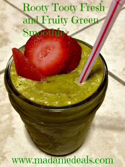 Kids Smoothie Recipes: Rooty Tooty Fresh and Fruity Green Smoothie #recipes #smoothieDelicious Healthy, Rooty Tooty, Kids Smoothie Recipe, Tooty Fresh, Fruity Green, Smoothie Recipes, Healthy Recipe, Green Smoothie Recipe, Madame Deals
