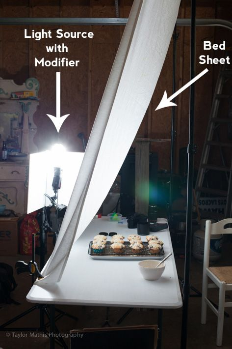 diy diffuse lighting - large light source with a sheet between it and your subject