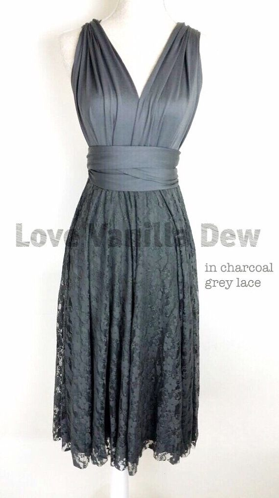 Bridesmaid Dress Infinity Dress Charcoal Grey Lace Knee Length Wrap Convertible Dress Wedding Dress