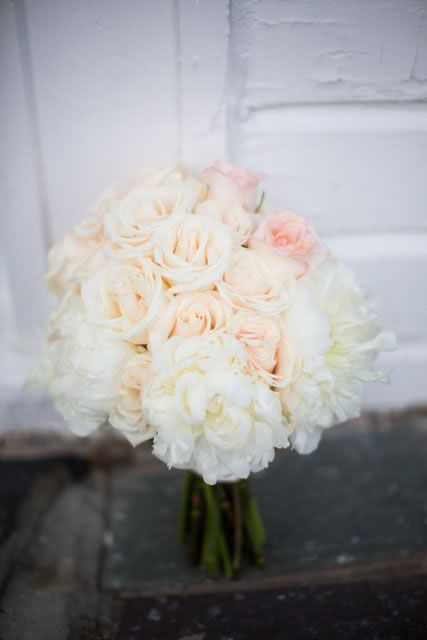 Soft pink roses and peonies bridesmaid bouquet. Flowers: EightTreeStreet Floral Design  Photographer: Sam Stroud Photography