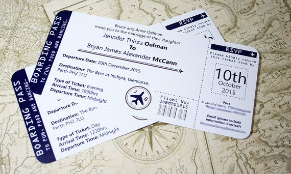 Boarding Pass Wedding Invitations Tear off von HelenScottDesign