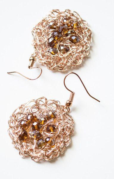 Dangle Earrings – Copper Wire crochet earrings & Crystal – a unique product by unikacreazioni-artisan on DaWanda