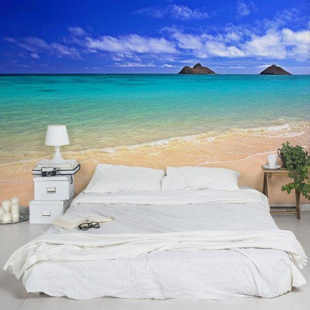 #Vliestapete - Paradise Beach - Fototapete Breit #Sommer #Sonne #Sonnenschein #Meer #Strand #Küste #Urlaub #Fernweh #Wandgestaltung #Tapete