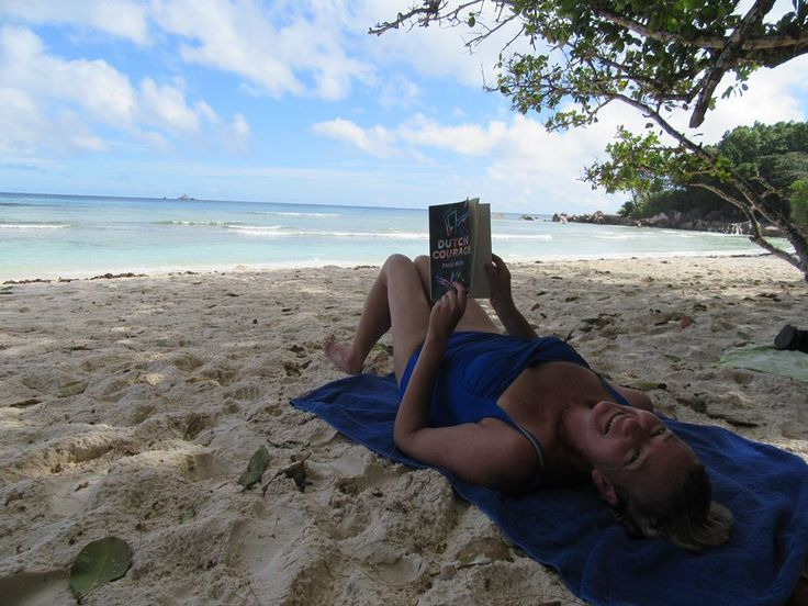 Bronwen Ferraz #DutchCourage Paige Nick's book and I enjoying a holiday in the Seychelles