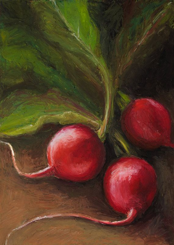 Now those are some good looking radishes, remember the pears?! oil pastel painting by brooke figer