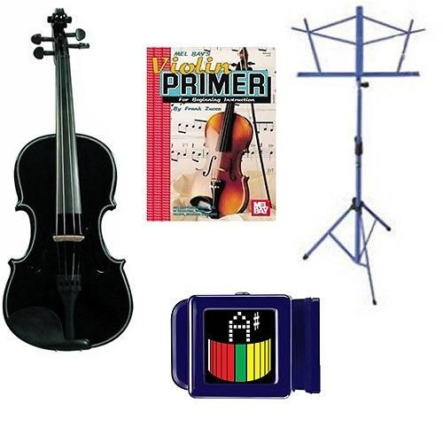 $129 Acoustic Electric Violin Pack Black- Full size Violin w/Pickup, Music Stand, Book & Tuner | Reverb Black- Full Size Violin w/Pickup Features: • Hand Carved Spruce Top • Hand Carved Solid Maple Back • Sides, Neck and Inlaid Purfling • Dyed Rosewood fingerboard and fittings • Alloy Tailpiece with 4 built-in Fine Tuners • Outline Detail in Black • Includes: Plush Lined, nylon covered hard shell case with outside storage pocket, handle and carry strap. Horsehair Bow and rosin.