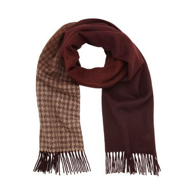 Mulberry - Ombre Dogstooth Wrap in Rum Lambswool Cashmere Blend