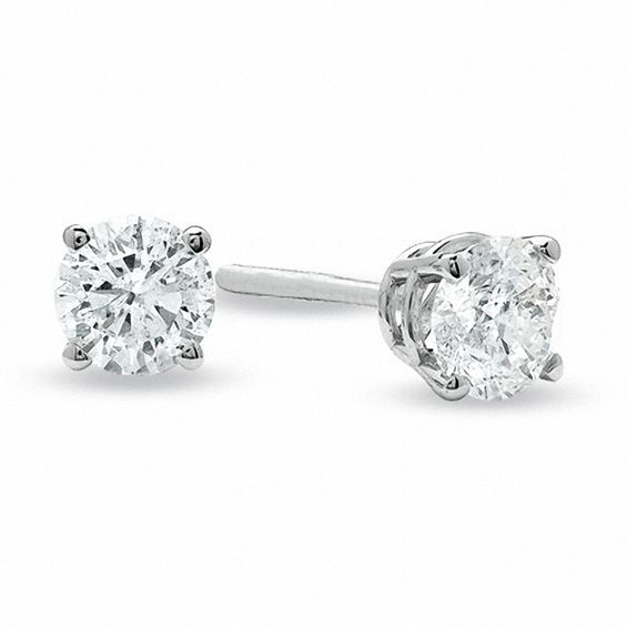 3 4 Ct T W Diamond Solitaire Stud Earrings In 14k White