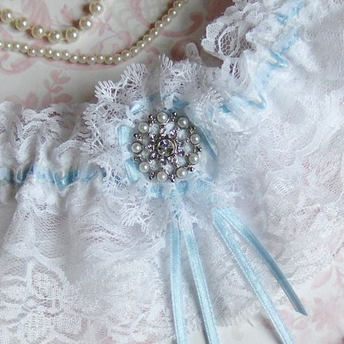 White Lace Bridal Garter With Baby Blue Satin Ribbon Detail Finished A Pretty Pearl Brooch Stretches To 22 Inches