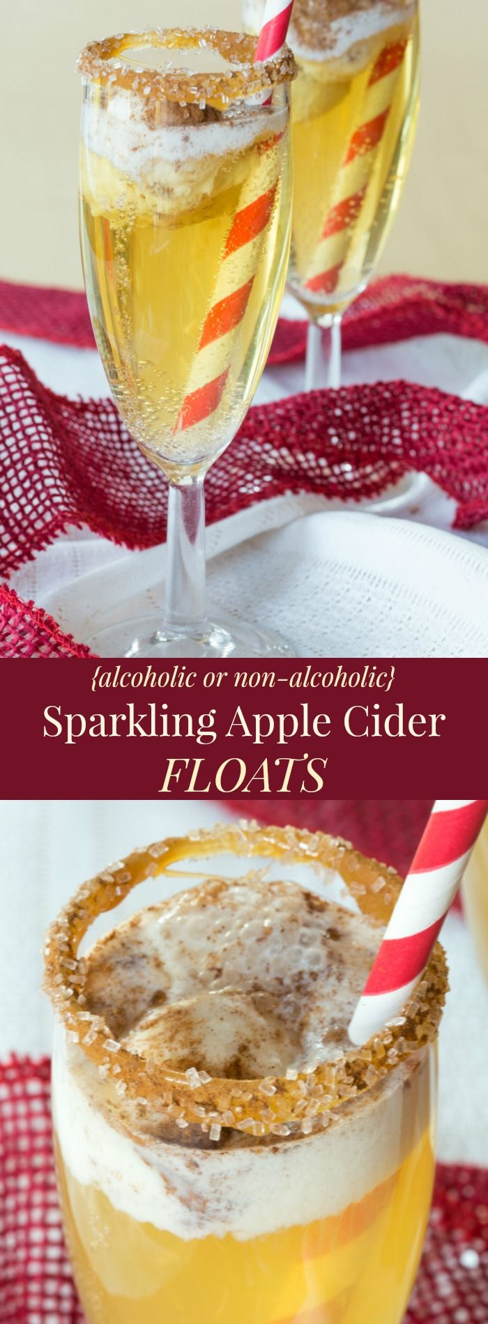 Sparkling Apple Cider Floats - alcoholic and non-alcoholic versions for a festive party drink with tricks to make them extra easy and extra special!