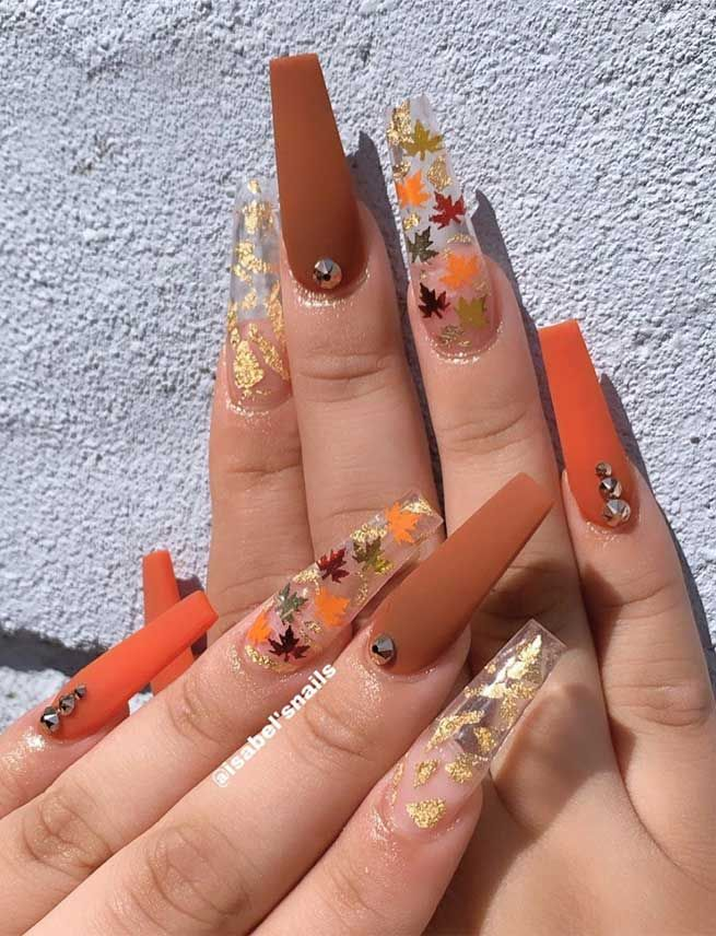 Try These Fashionable Nail Ideas That Ll Boost Your Fall Mood In 2020 Fall Acrylic Nails Cute Acrylic Nail Designs Long Acrylic Nails