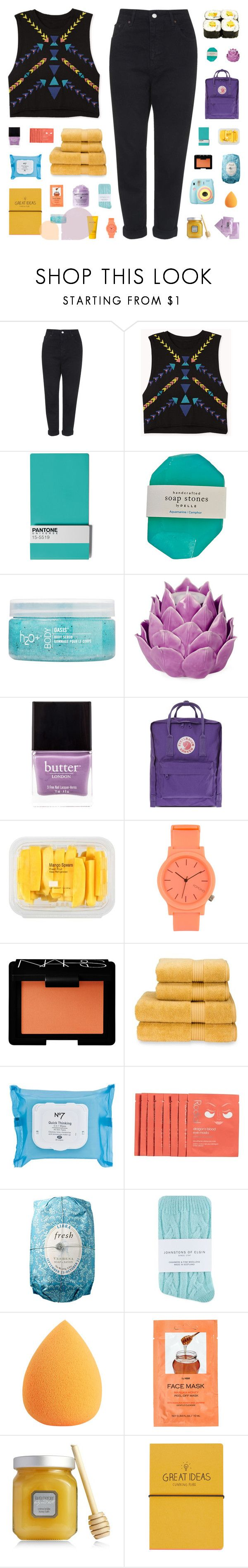 """""""~ O11916"""" by khieug ❤ liked on Polyvore featuring Topshop, Forever 21, Seletti, H2O+, Zara Home, Butter London, Fjällräven, MANGO, Komono and NARS Cosmetics"""