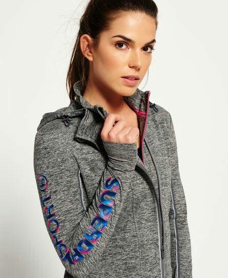 Superdry grey zip up hoody gym+