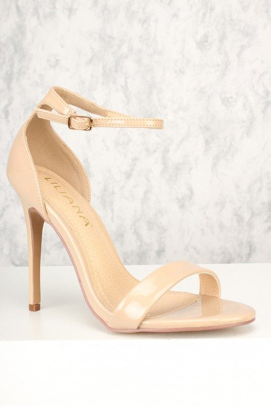 c0a1efe6adb Sexy Nude Open Toe Ankle Strap Single Sole High Heels