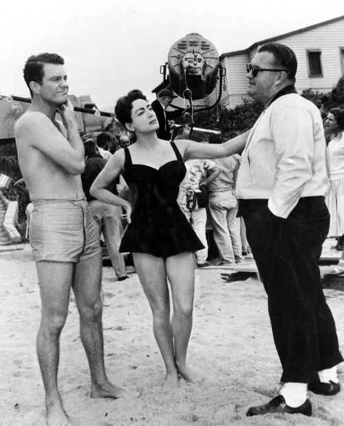 Cliff Robertson & Joan Crawford with director Robert Aldrich on set of Autumn Leaves, 1956.