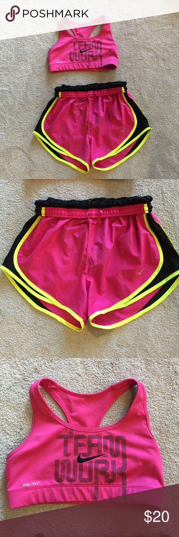 Nike drifit shorts and bra top both small Pink workout outfit ! Includes shorts and drifit bra top by Nike . Size small .a little wear on the inside of bra top - does not show on the outside . Nike Shorts