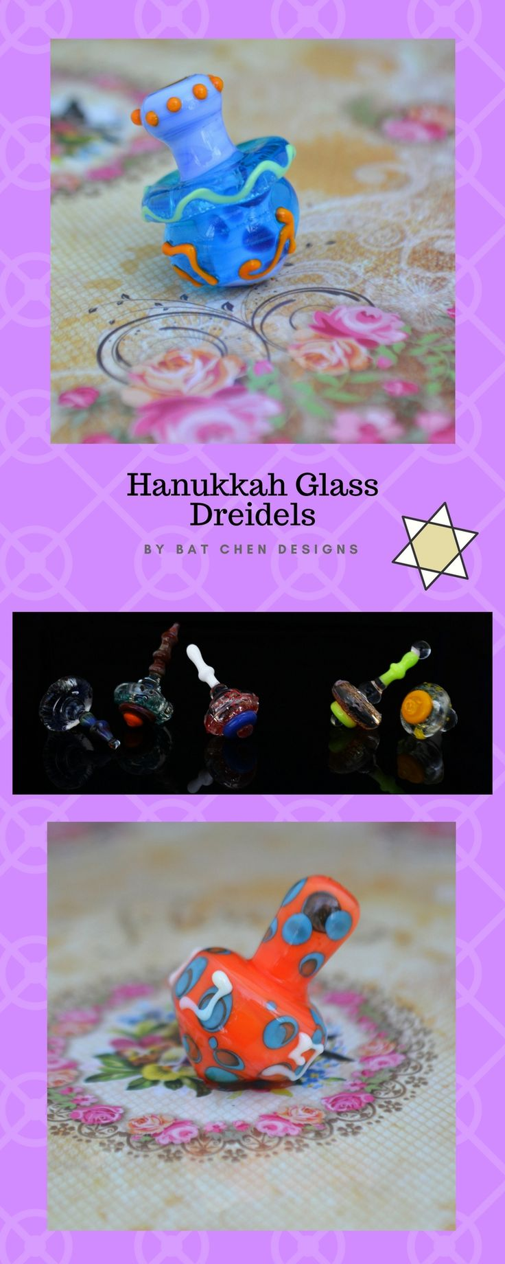A unique collection of handmade glass dreidels made in JERUSALEM by Bat Chen Designs