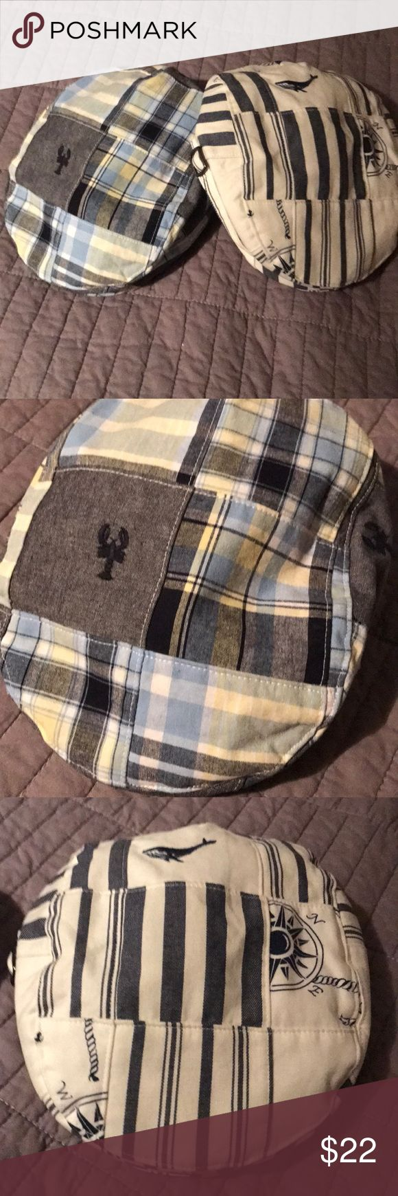 Newsboy hats .Janie and Jack 6-12 mos Nautical Newsboys hat. Janie and Jack. 6 to 12 months iNWOT very cute nautical hat one blue and white with the well other blue white denim colored in light yellow in color very cute Janie and Jack Other