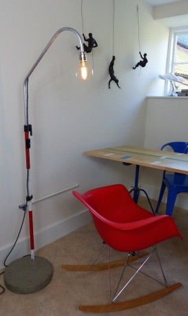 """Upcycled Floor Standing Lamp. Hand made """"one off"""" designs from old industrial recycled materials in the form of  surveying equipment. Soon to be seen on BBC1's Money For Nothing TV Show"""