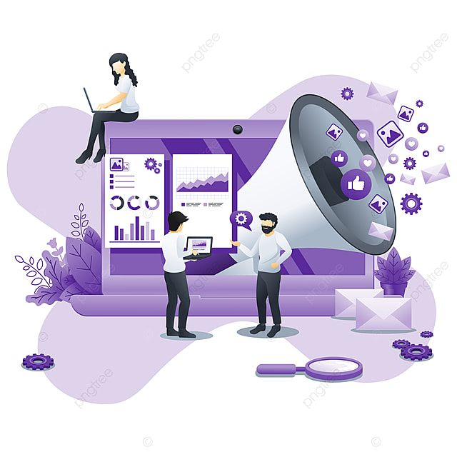 Modern Flat Design Concept Of Digital Marketing With Giant Megaphone And Characters Can Use For Web Content Strategy Infographics Landing Page Web Template Flat Concept Design Digital Marketing Business Vector Illustration