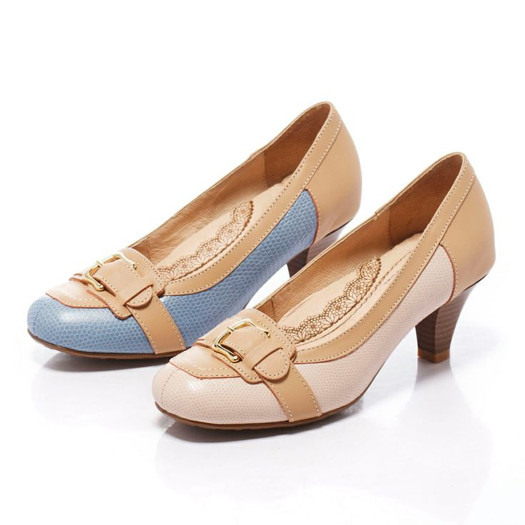 0-2080 Fair Lady 芯太軟 裸色系帶扣拼革跟鞋 粉 - Yahoo!奇摩購物中心