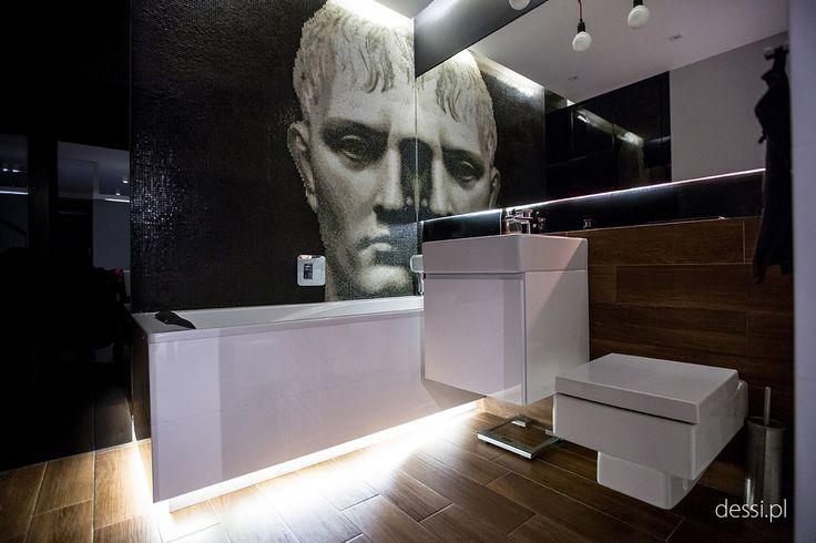 Męskie wnętrza, kawalerka, łazienka, ciemna łazienka, biąło czarna łaziencka. Zobacz więcej na: https://www.homify.pl/katalogi-inspiracji/17135/wyjatkowo-meskie-wnetrza-5-modnych-aranzacji-dla-prawdziwych-mezczyzn
