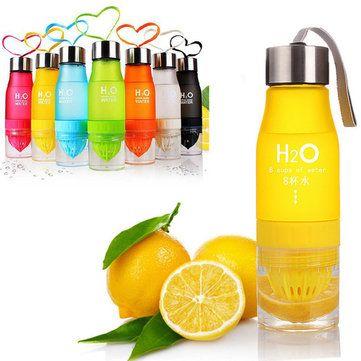 SaicleHome Sports Water Bottle Portable Outdoor Drinkware Juice Scrub Lemon Fruit Cup