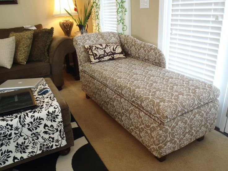 DIY Chaise Lounge With Storage   Finished Chaise Lounge With Storage