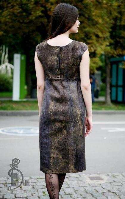 Платья ручной работы. Ярмарка Мастеров - ручная работа Валяное платье «Шепот в темноте». Handmade.