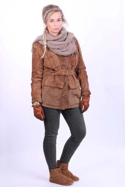 Ralph Lauren Womens S Vintage Leather Jacket Suede Brown Long Belt - RetrospectClothes