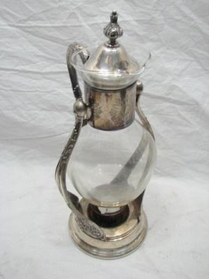 VINTAGE NEWPORT VICTORIAN SILVER PLATE TILTING COFFEE TEA POT WARMER STAND