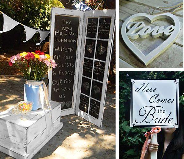 Black board wedding signs