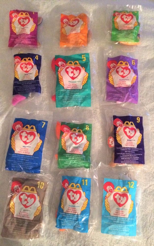 Teenie Beanie Babies McDonalds 1998 Complete set of 12 Sealed New in Packages   #Ty