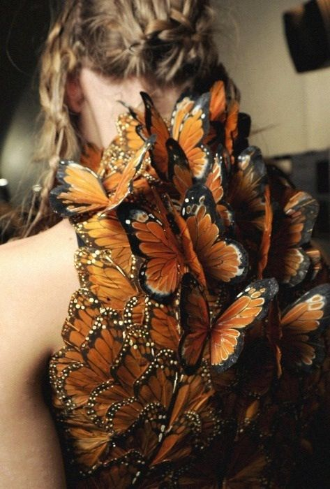 I think Alexander McQueen was brilliant and I also have an obsession with butterflies. CLT