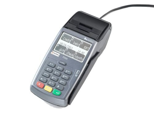 First Data™ FD55 Terminal  Developed for the cost-conscious  merchant who requires full-service  processing at the lowest possible  cost. Terminal and printer in one.
