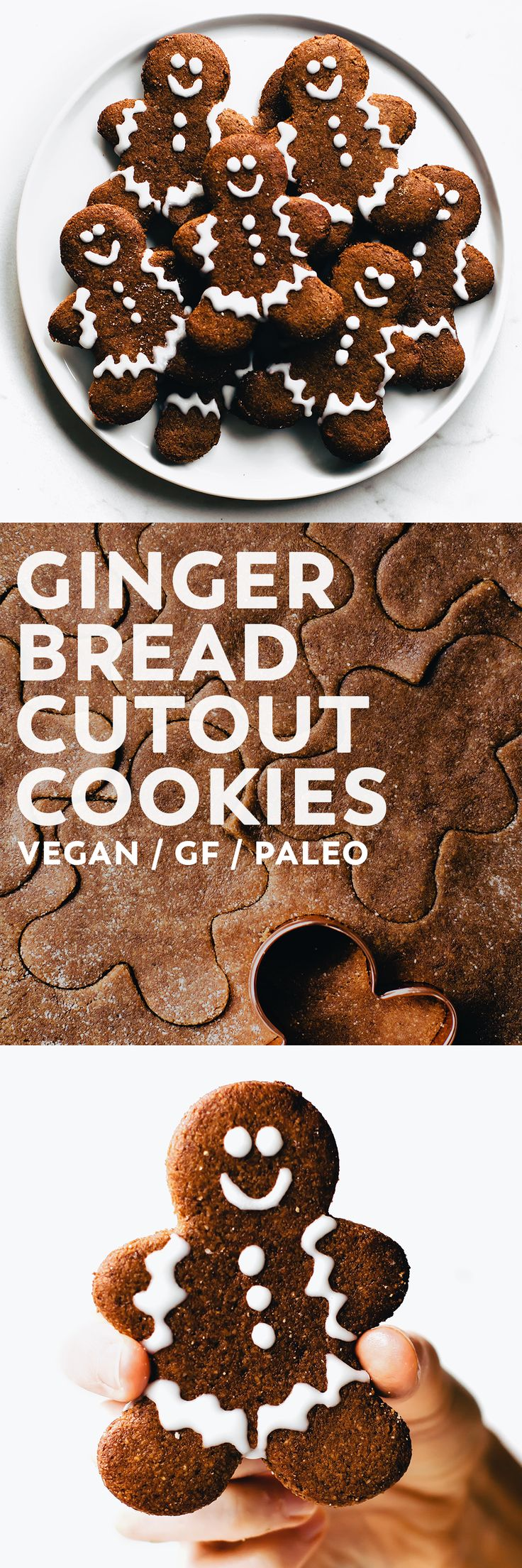 Soft and tender, crispy edges, warm spices, just sweet enough – these Gingerbread Cutout Cookies are everything a FAVORITE Christmas cookie should be! #vegan #glutenfree #paleo #christmas #cookies #dessert #baking