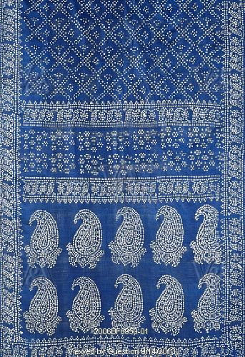 Stenciled patterns on wall like a sari pattern arrangement.  Sari, detail. Benghal, India, 19th century