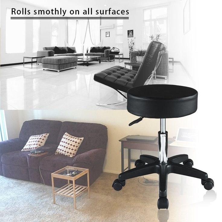 Adjustable Salon Stool Swivel Bar Seat Hydraulic Massage Chair Black PVC Leather #AdjustableSalonStool #Modern