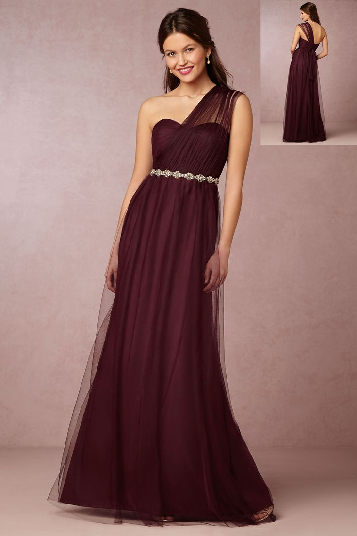 58 best bridesmaid dresses images on pinterest wedding marriage one shoulder burgundy tulle bridesmaid dress with crystal ribbon ombrellifo Gallery