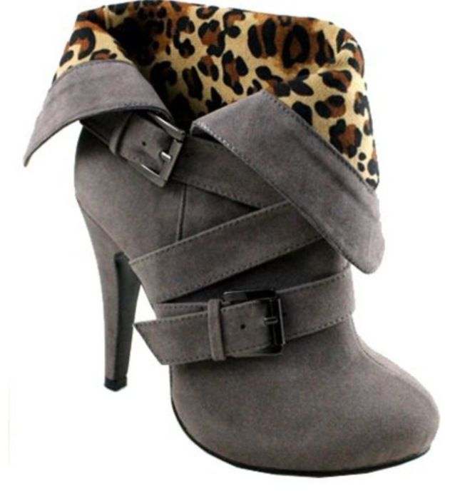 Gray cheetah print booties.