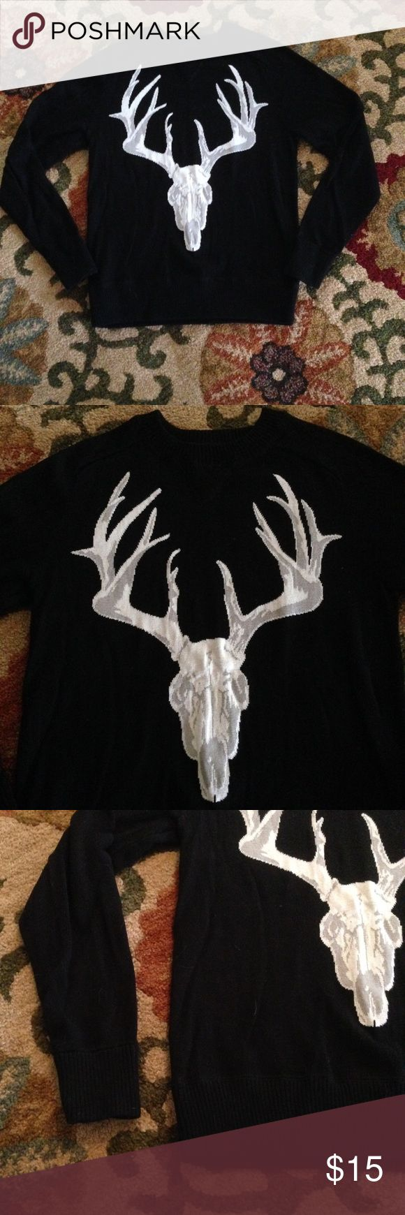 💀Black Skull sweater deer target cotton Christmas Mossimo brand. The skull is woven into the sweater. Not an appliqué. It has ribbing around neck, sleeves and hem. Worn maybe once. 100% cotton.  I also have a NWT XXL for sale. Mossimo Supply Co. Sweaters Crewneck