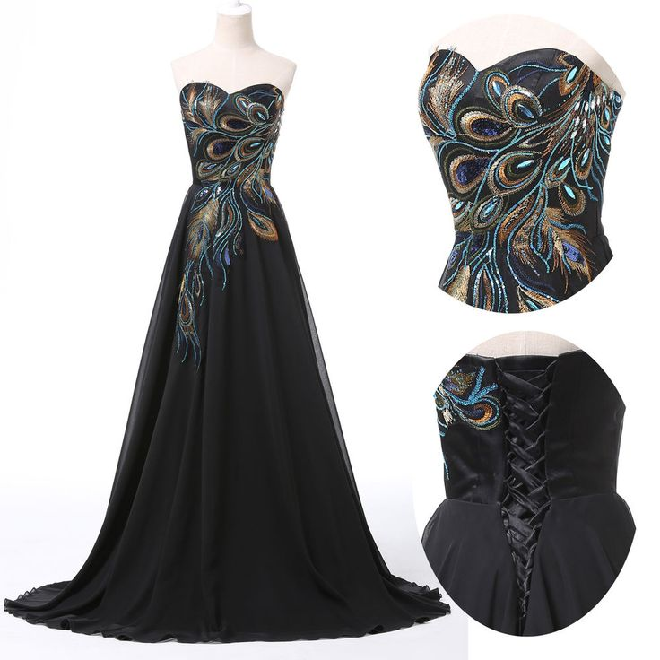 CHEAP~ Retro Peacock Long Prom Evening Ball Gown Masquerade Cocktail Dress 6-20