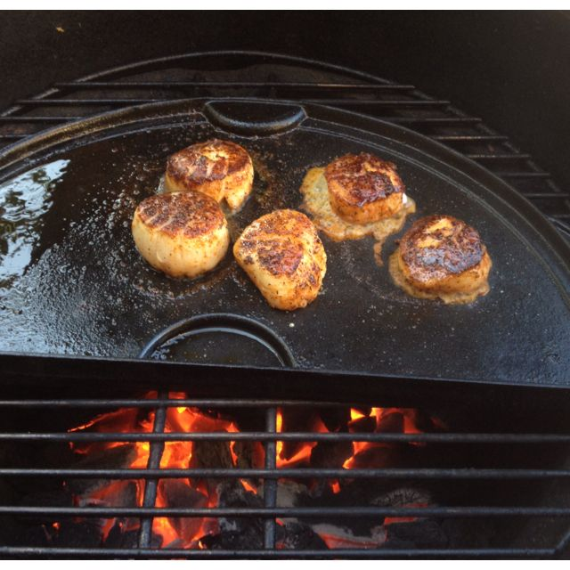 Seared scallops on the Big Green Egg. Wish I'd bought more!