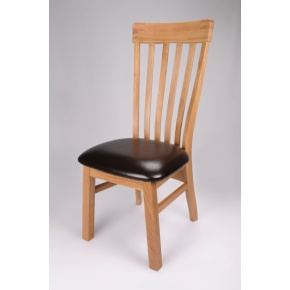 Canterbury Solid Oak Dining Chair with Genuine Leather Pad  www.easyfurn.co.uk